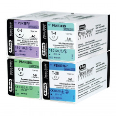Sutures Perma-Sharp D' Acide Polyglycolique Pga Teint - La boîte de 12 Unités - Fil 5/0