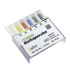 Cônes de gutta percha Color ISO - La boîte de 100 Cônes